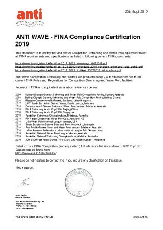 Anti Wave FINA Compliance Certification
